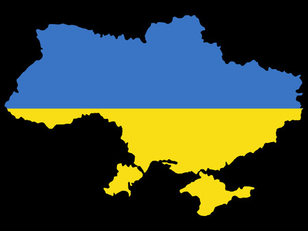 ukrainian flag: map of Ukraine and Ukrainian flag