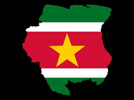 suriname: map of Suriname and Surinamese flag