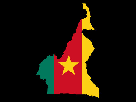 cameroon: map of Cameroon and Cameroonian flag