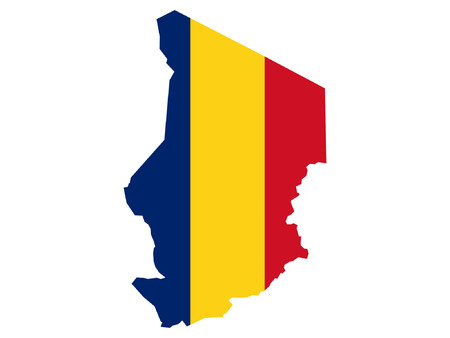 chadian: map of Chad and Chadian flag illustration