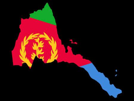 eritrea: map of Eritrea and Eritrean flag illustration