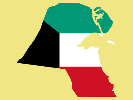 kuwait: map of kuwait and kuwaiti flag illustration Illustration