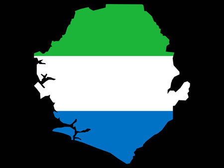 sierra: map of Sierra Leone and Sierra Leonean flag Illustration