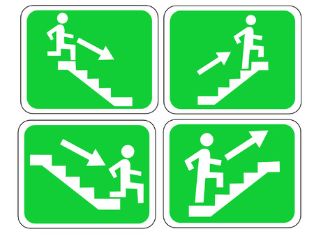 fire escape: Emergency exit sign with figure and stairs