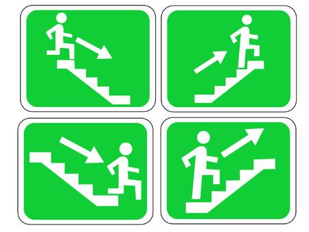 stair: Muestra de la salida de emergencia con la figura y las escaleras Vectores