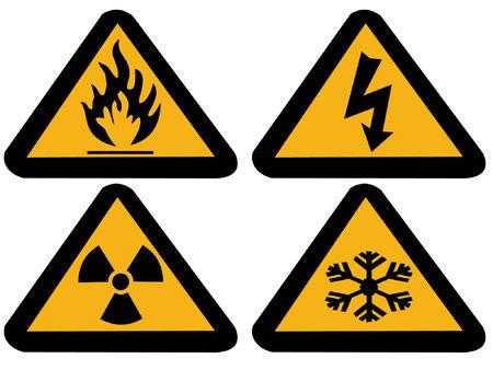 fire and ice: Industrieel risico symbolen extreme koude, brandbaar, radioactieve elektrische,