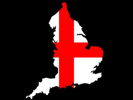 english flag: map of England and English flag illustration