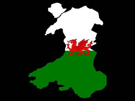 welsh flag: map of Wales and Welsh flag illustration Illustration