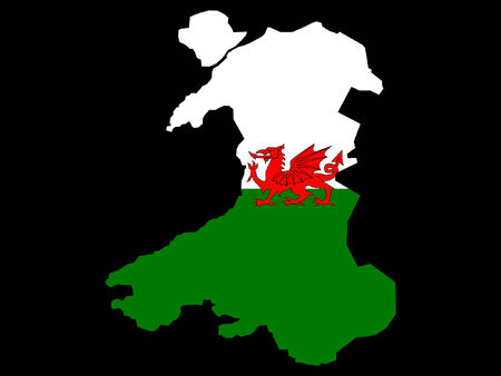 welsh flag: mappa del Galles e il gallese bandiera illustrazione  Vettoriali
