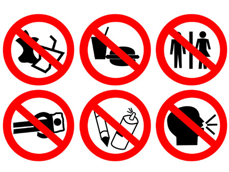Public space prohibited sign no eating, litter graffiti Stock Vector - 738899