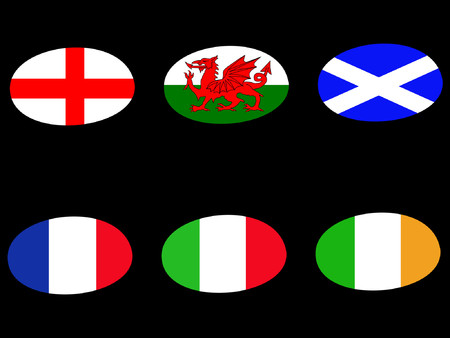 nation: Rugby ball flags england ireland wales scotland france italy Illustration