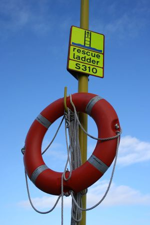 Life ring and rescue ladder sign Stock Photo - 743823