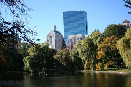 John Hancock tower from Public garden Boston photo