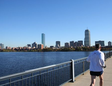 Jogging by Charles River Boston Massachusetts Stock Photo