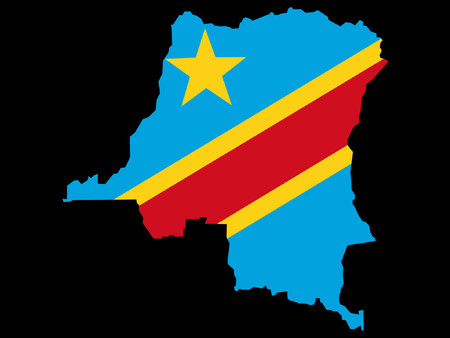 Congo: map of Democratic Republic of Congo and flag