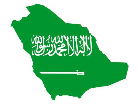 map of Saudi Arabia and Saudi Arabian flag Vector