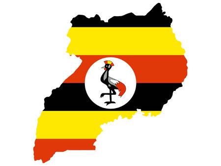 kaart van Oeganda en Oegandese vlag