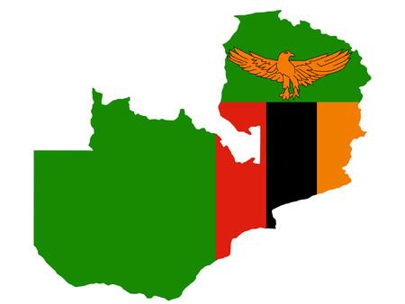 zambian flag: map of Zambia and Zambian flag illustration Illustration