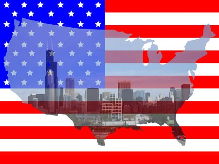 sears: Sears tower Chicago southern view with American map flag frame Stock Photo