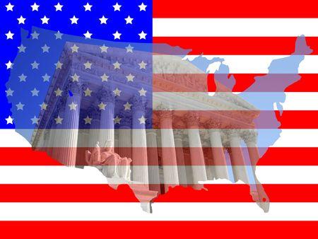 Supreme Court Washington DC With American Map Flag Frame Stock Photo ...