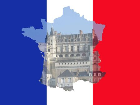 Amboise chateau France with French map flag frame photo