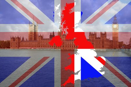 Houses of Parliament London with British map and flag Stock Photo - 748404