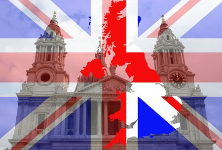 St Pauls cathedral with British map and flag Stock Photo - 748405