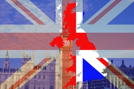 Houses of Parliament London with British map and flag Stock Photo - 748409