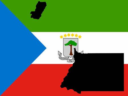equatorial guinea: map of equatorial Guinea and equatorial Guinea flag illustration Illustration