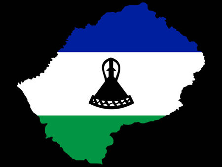 lesotho: map of lesotho of and flag illustration