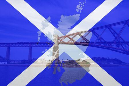 forth: Forth rail bridge Edinburgh and Scottish flag map frame Stock Photo