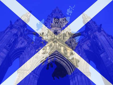 sir walter scott: Scott Monument Edinburgh and Scottish flag map frame