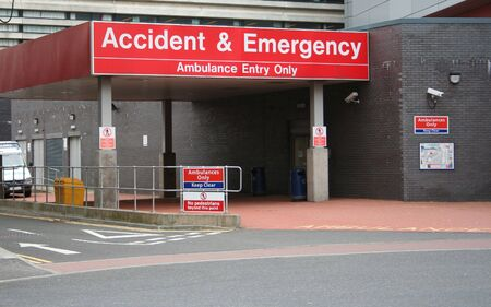 Accident and Emergency entrance at hospital Stock Photo