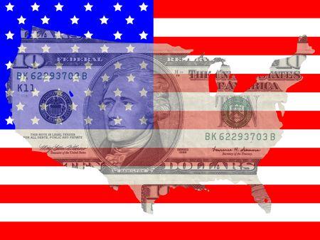 alexander hamilton: Dieci dollari di bolletta con American mappa bandiera cornice Archivio Fotografico
