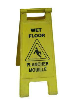 seepage: bright yellow bilingual wet floor sign isolated on white Stock Photo