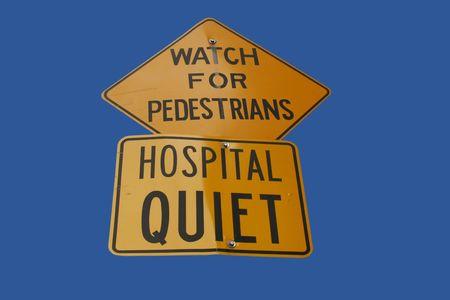 Silencio hospital signo aislado en azul  Foto de archivo - 764813