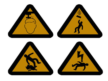 slippery warning symbol: construction hazard signs falling objects