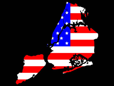 boroughs: map of five boroughs of New York City and American flag illustration Illustration