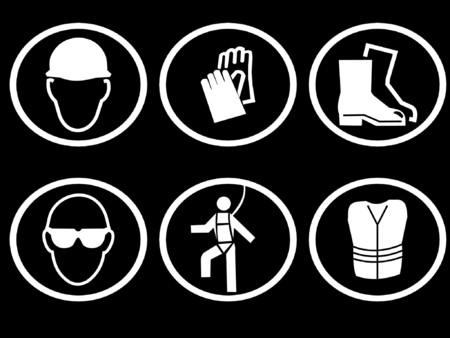 veiligheid bouw: bouwplaats veiligheidsuitrusting symbolen Stock Illustratie