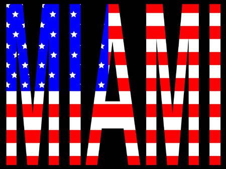 miami: City of Miami and American flag illustration