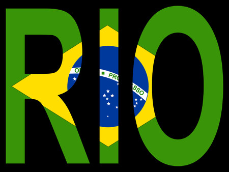 City of Rio de Janeiro and Brazilian flag illustration