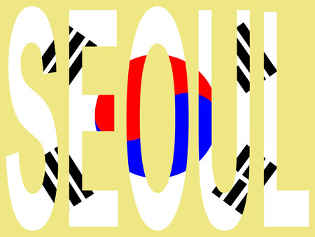 seoul: Ville de S�oul et de la Cor�e du pavillon illustration