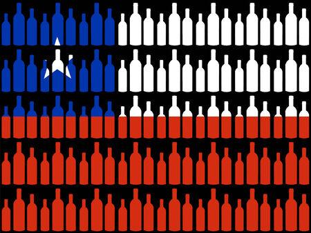 ワインのボトルとチリの旗 写真素材 - 779562