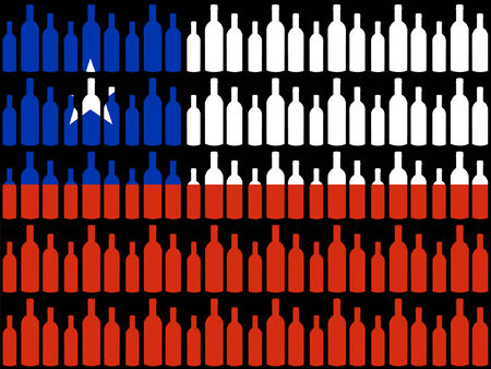 chilean flag: Wine bottles and Chilean flag Illustration
