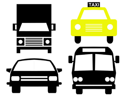 Vehicle silhouettes bus truck car and taxi