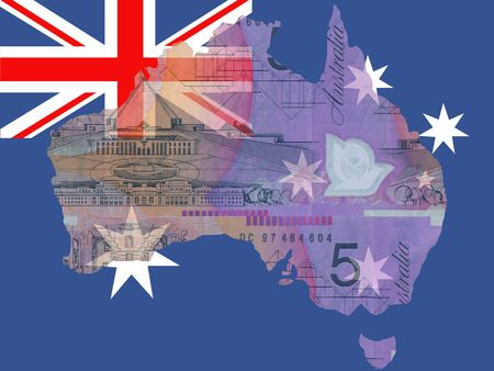 australian money: Australian currency map of Australia and flag Stock Photo