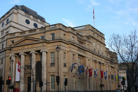trafalgar: Canadian Embassy on Trafalgar Square London England Stock Photo