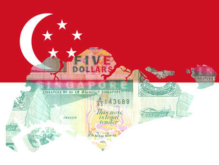 singaporean flag: Singaporean currency with map of Singapore and flag