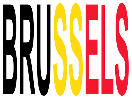 City of Brussels and Belgian flag illustration Stock Vector - 779582