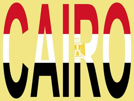 cairo: City of Cairo and Egyptian flag illustration Illustration